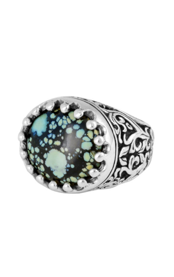 Baroque Scroll Ring with Top Hat Spotted Turquoise