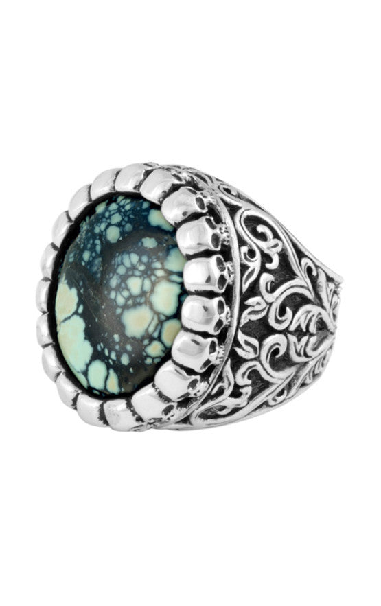 Medium Baroque Scroll Ring with Top Hat Spotted Turquoise
