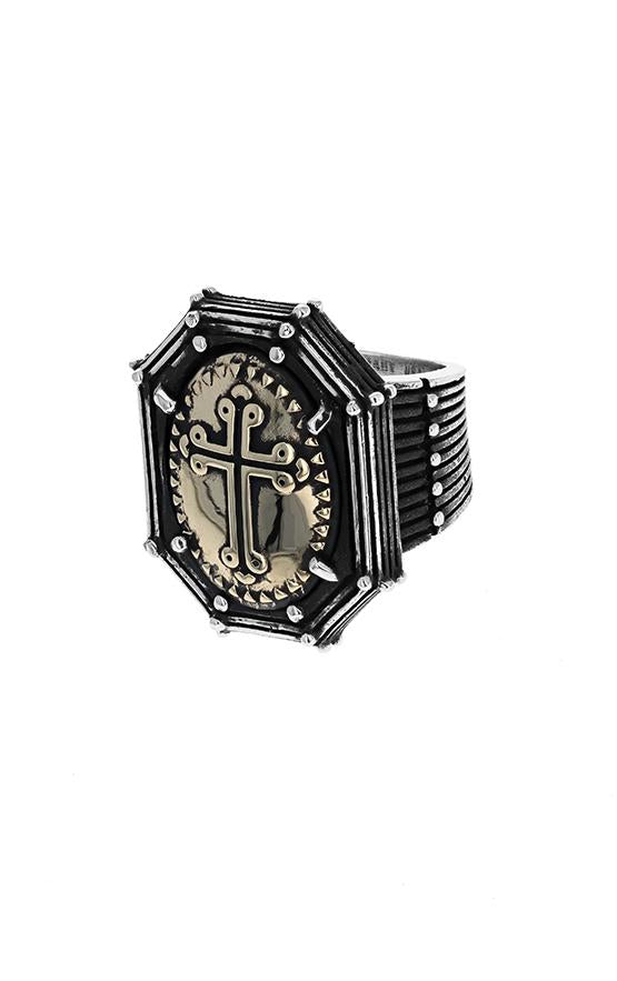 Rivet Frame Ring with Alloy Traditional Cross