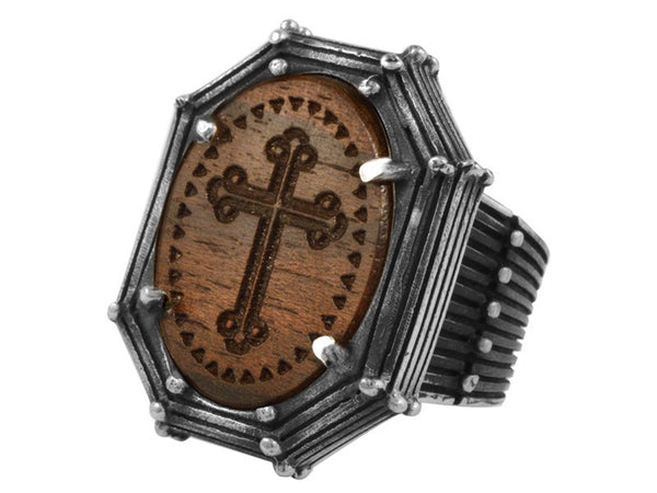 Exotic Ziricote Wood w/ Traditional Cross in Rivet Frame Ring