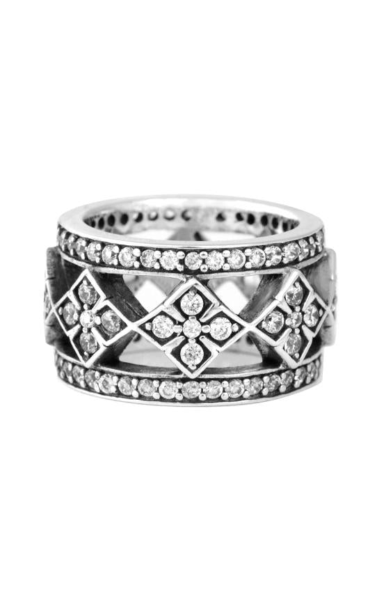 Wide Band Ring with MB Cross and CZ