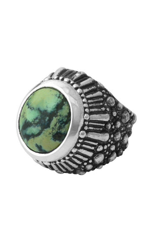 Stingray Starburst Texture Ring with Turquoise Stone