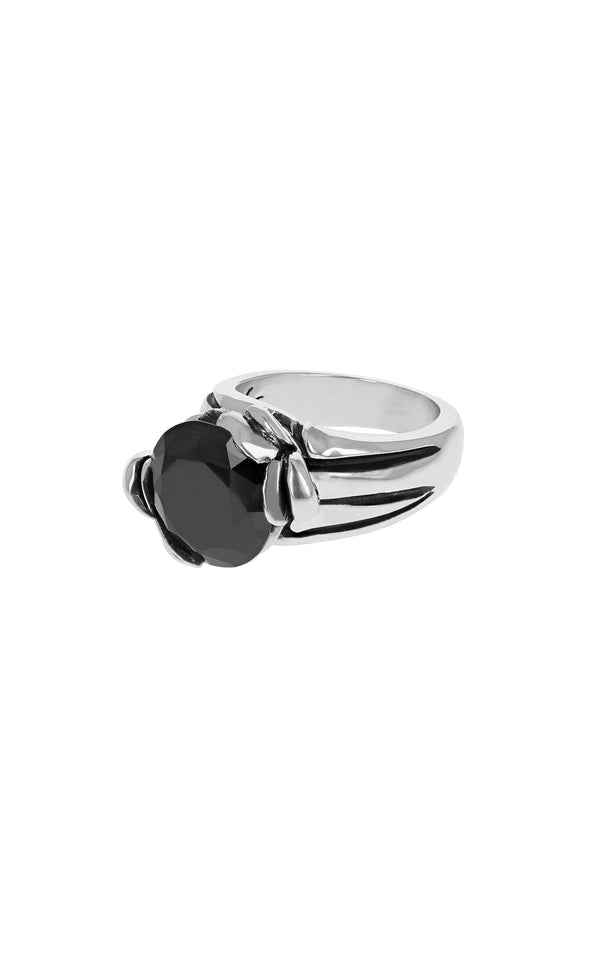 Floral Pattern Ring with 13mm Black CZ