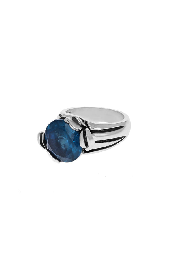 Floral Pattern Ring with 13mm Blue Topaz