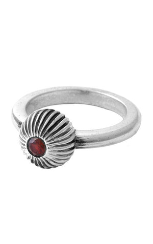 Ribbed Sphere Ring with Ruby