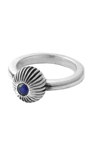 Ribbed Sphere Ring with Sapphire