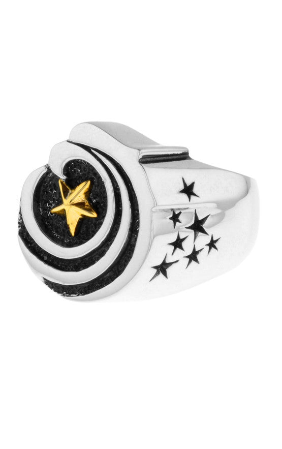Eagle Star Signet Ring with Gold Star