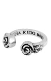 king baby open ring with roses