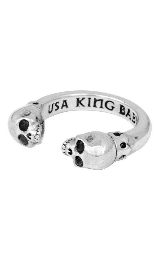 king baby open ring with skulls