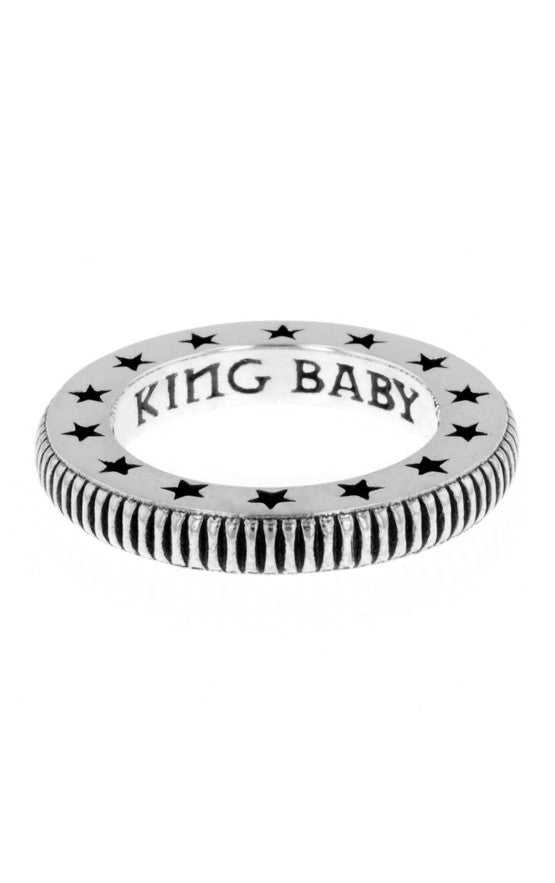 Coin Edge Stackable Ring with Stars Engraved Lip