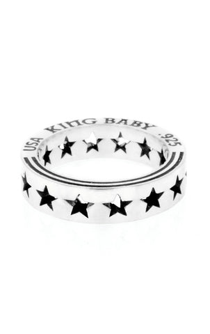 king baby silver pierced star ring
