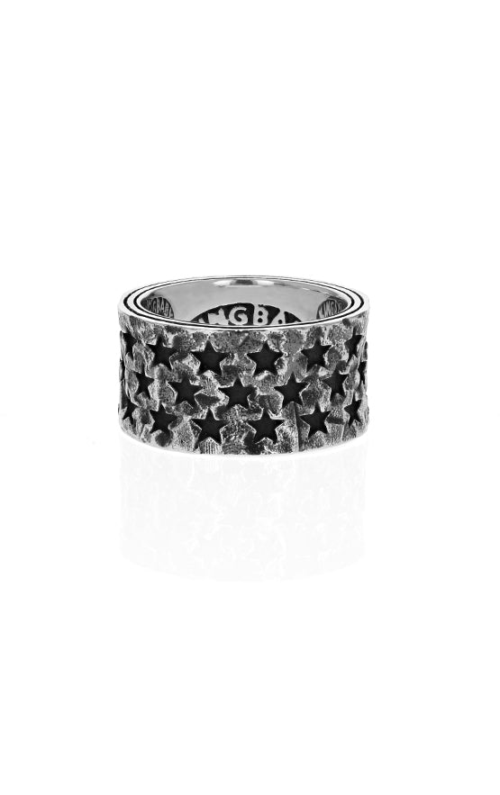 Triple Row Pierced Star Wide Band