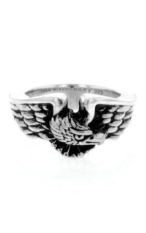 king baby men's silver american eagle ring