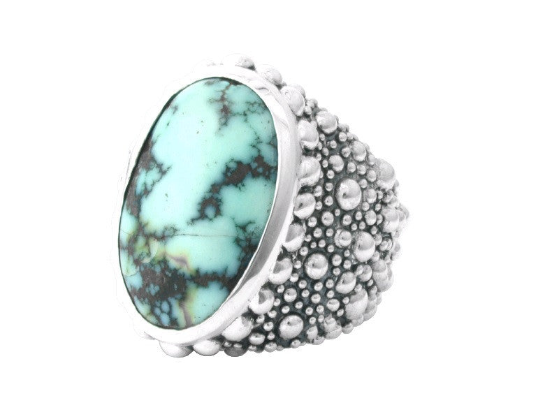 Stingray Texture Ring with One of a Kind Turquoise Stone in Beaded ...