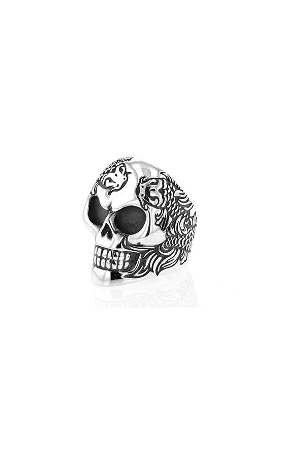 Koi Fish Engraved Skull Ring