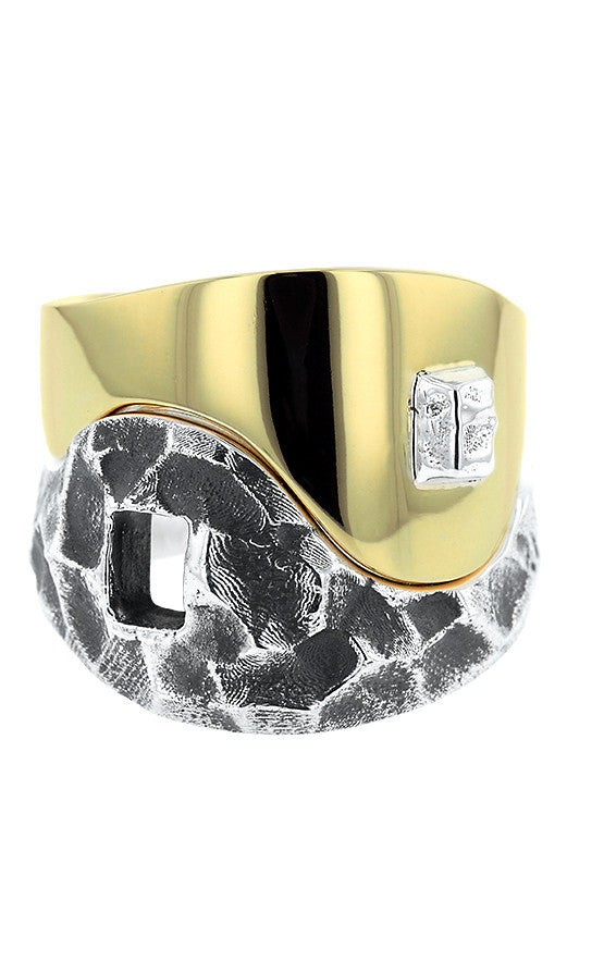 Yin Yang Double Stack Ring in Silver and Brass Alloy