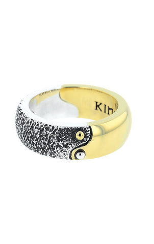 Yin Yang Two Toned Band in Silver and Brass Alloy