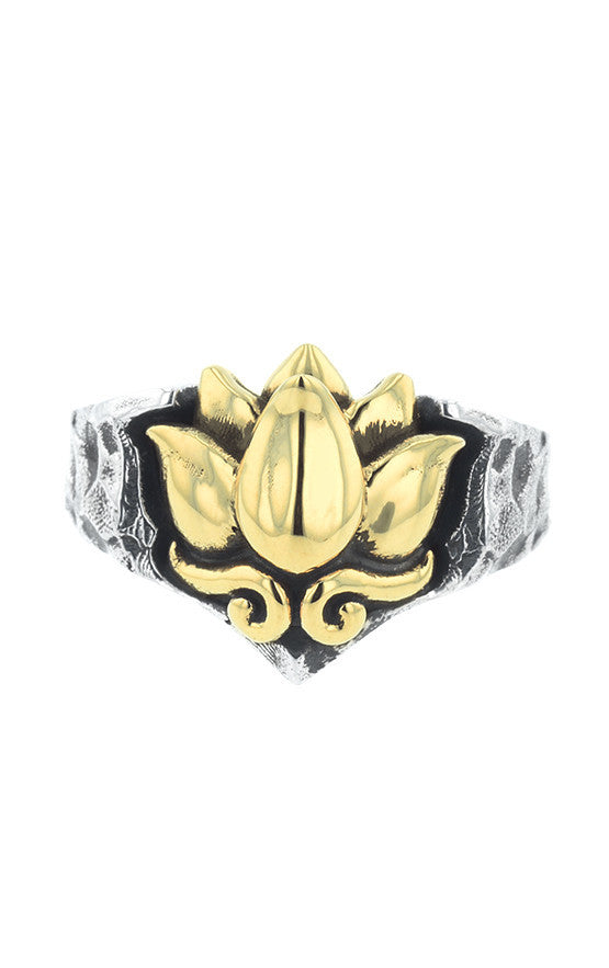 Two Tone Lotus in Stone Ring