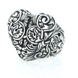 Engraved Baroque Heart Ring