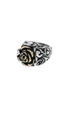 king baby rose scroll ring with gold alloy