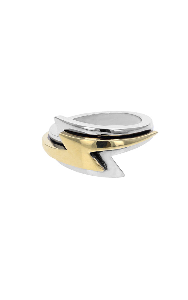 Large Slumerican Gold Lightning Bolt Ring