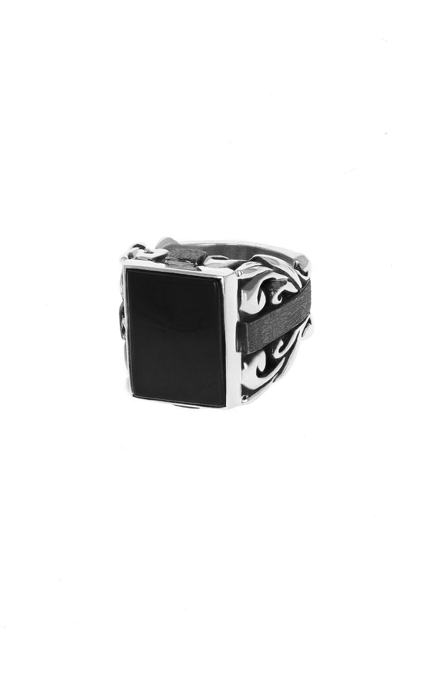 Statement Scroll Ring w/ Square Inset Onyx