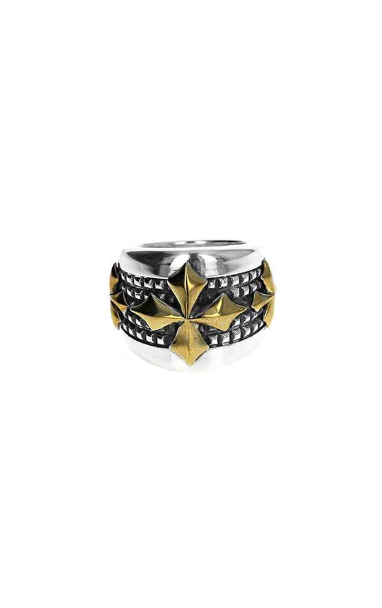 silver and gold king baby ring