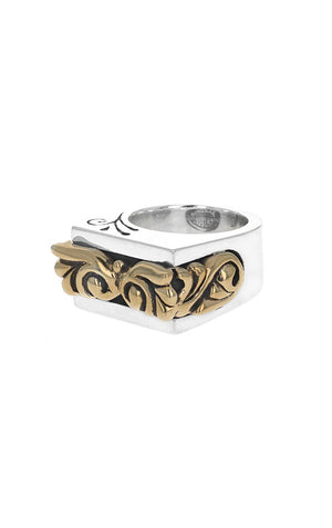 Squared-Off Gold Scroll Ring