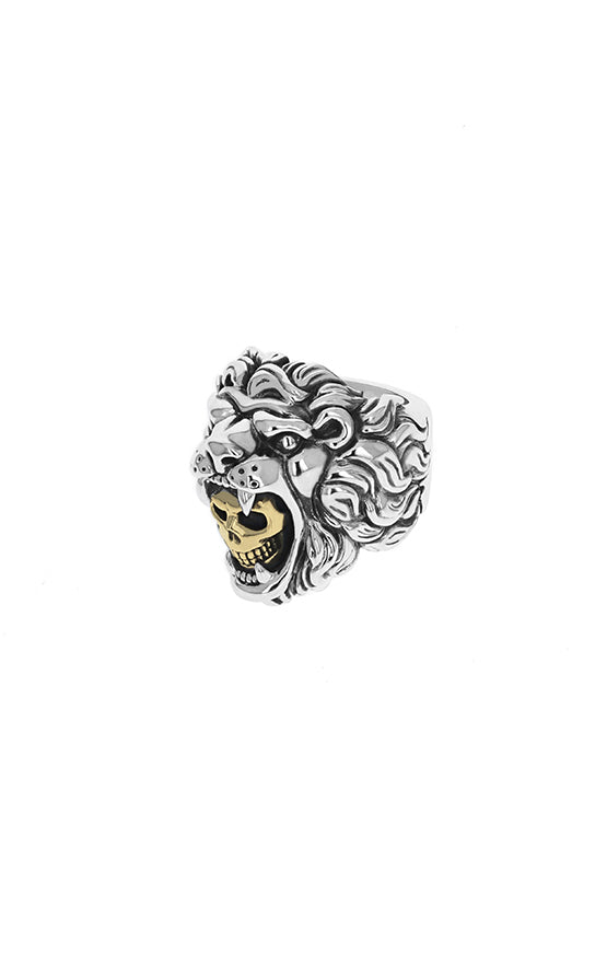 Lion Ring w/ Gold Alloy Skull