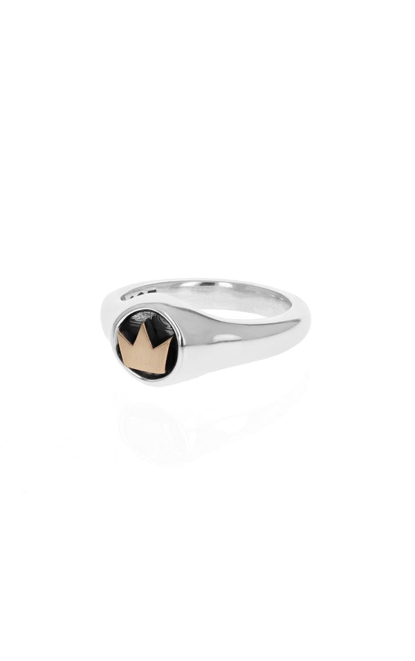 king baby small crown ring with gold alloy