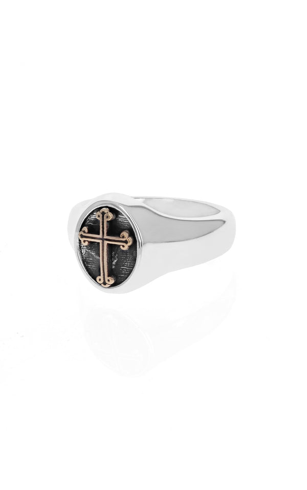 king baby traditional cross ring with gold alloy