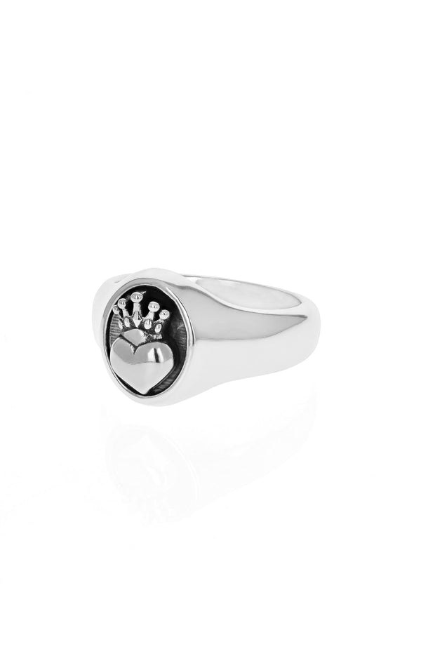 king baby crowned heart ring