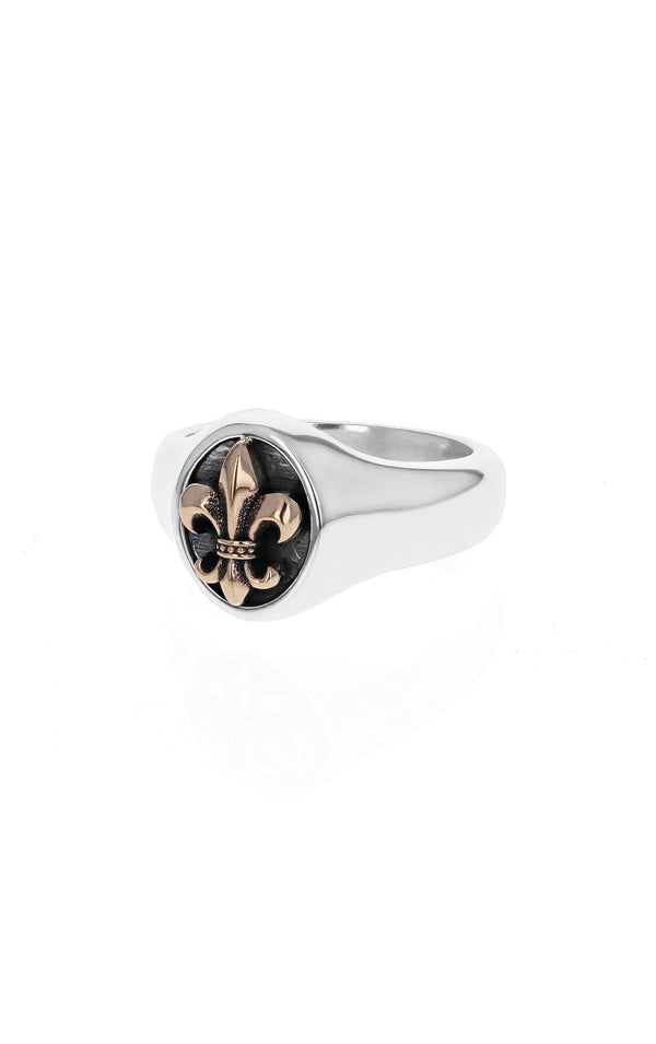 king baby fleur de lis ring with gold alloy