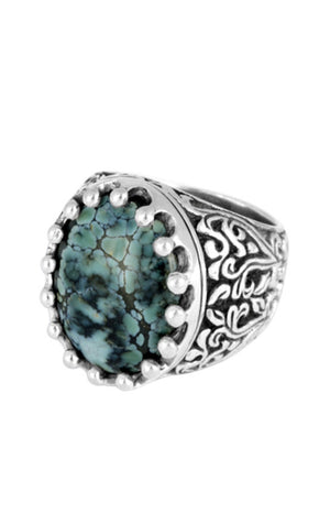Baroque Scroll Ring with Vertical Top Hat Spotted Turquoise