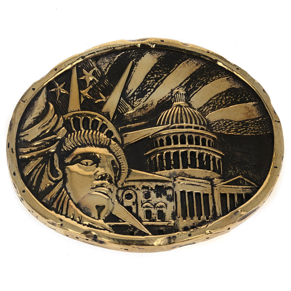 Lady Liberty Gold Alloy Belt Buckle