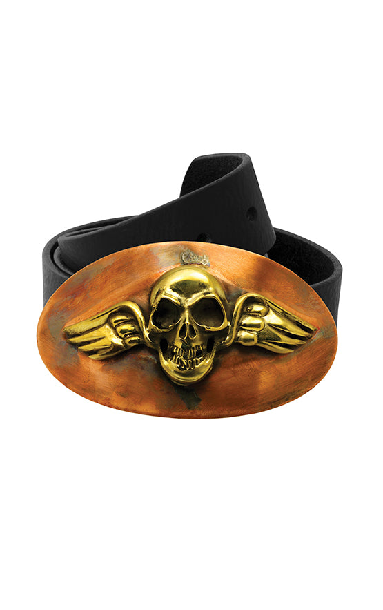 Large Brass and Copper Winged Skull Belt Buckle