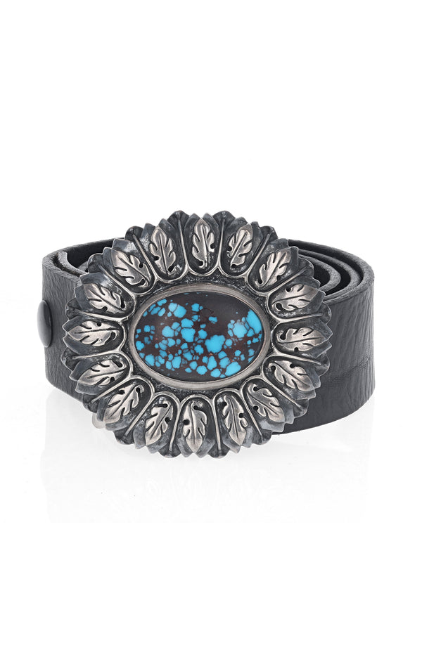 Silver Flower Round Belt Buckle with Egyptian Turquoise Stone