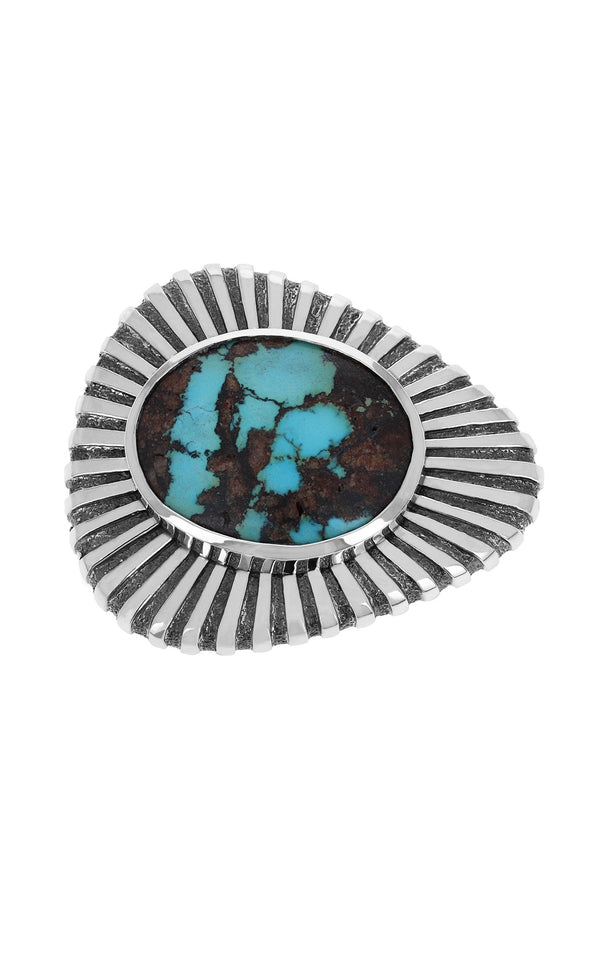 Egyptian Turquoise Sunburst Belt Buckle