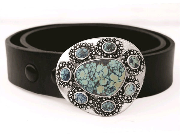 One of a Kind Buckle with Turquoise Stone