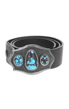 KB Scroll Shield Buckle with Turquoise Stones