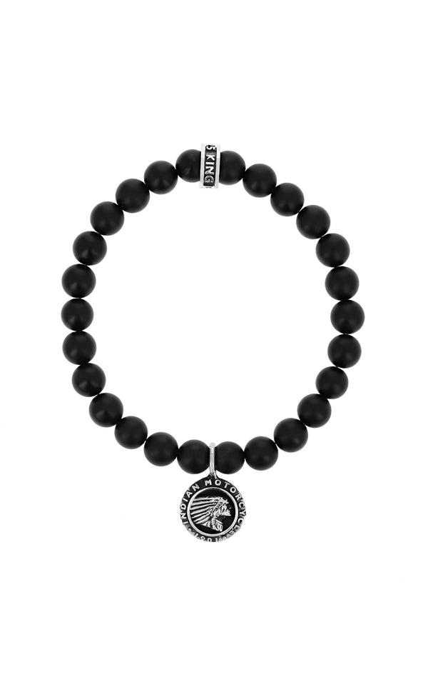King Baby Matte Onyx Bracelet with Indian Headdress Logo Charm