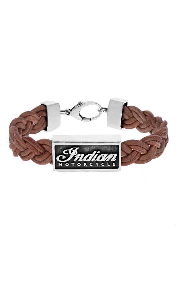 King Baby Braided Leather Bracelet with Silver Indian Motorcycle Script Logo