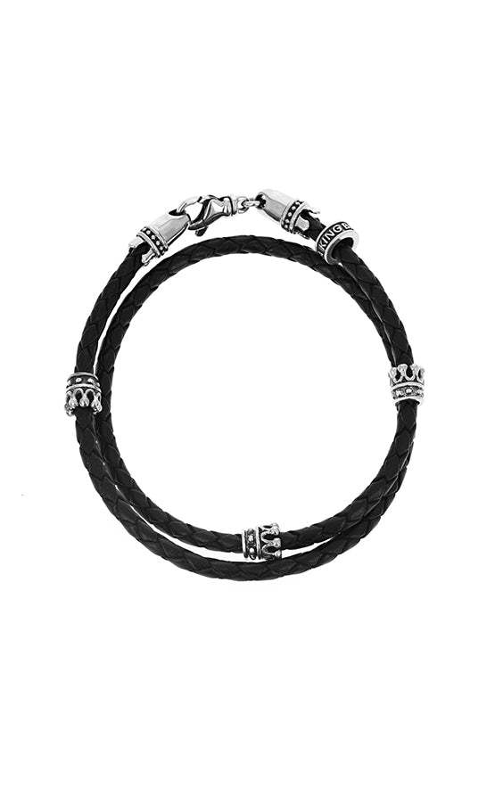 Crown Leather Double Wrap Bracelet