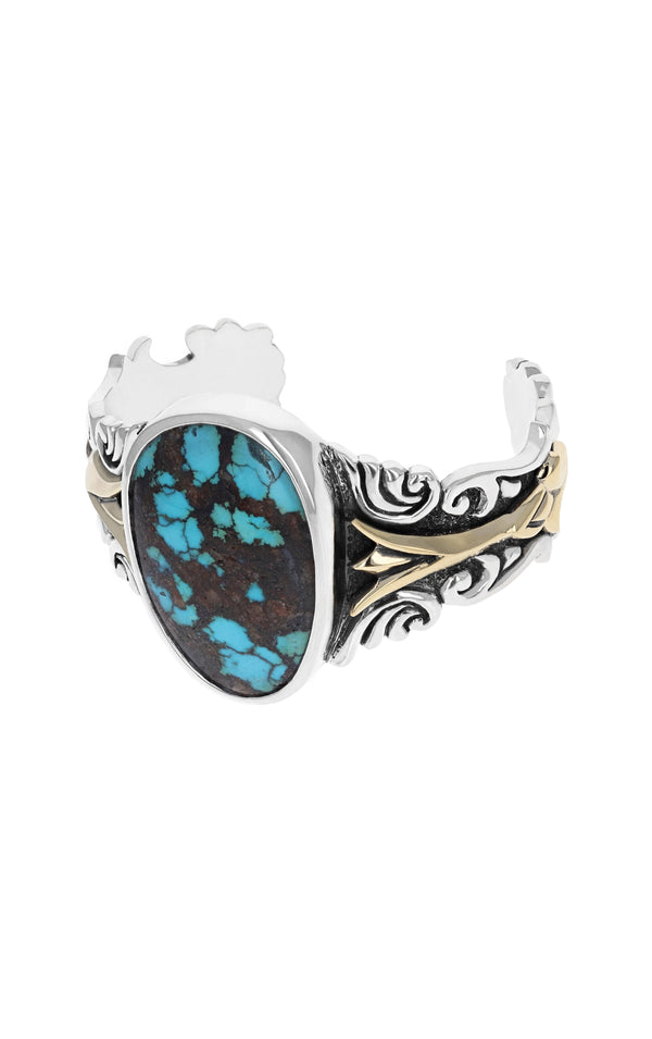 Egyptian Turquoise Scrollwork Cuff with Gold Alloy