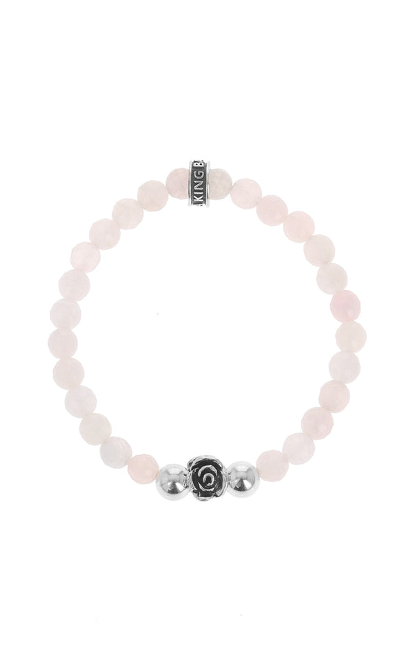 king baby womens rose quartz bracelet with silver rose bead