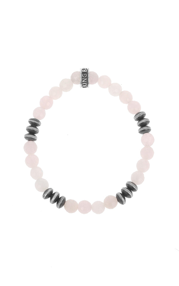 king baby womens rose quartz bracelet with silver disk beads