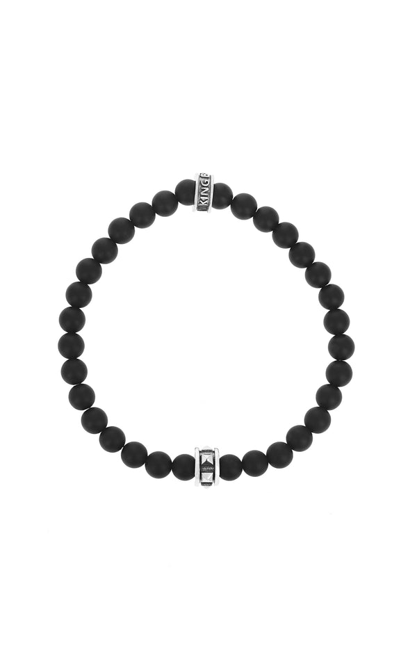 6mm Onyx Beaded Bracelet w/ Micro Stackable Pyramid Ring