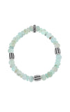 Chrysoprase Bracelet with Three Silver Barrel Beads