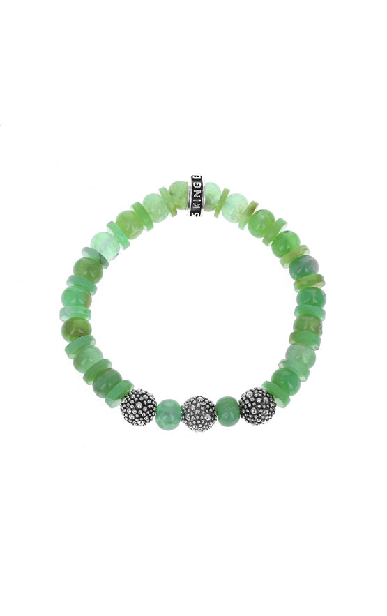 Chrysoprase Bracelet with Silver Stingray Texture Beads