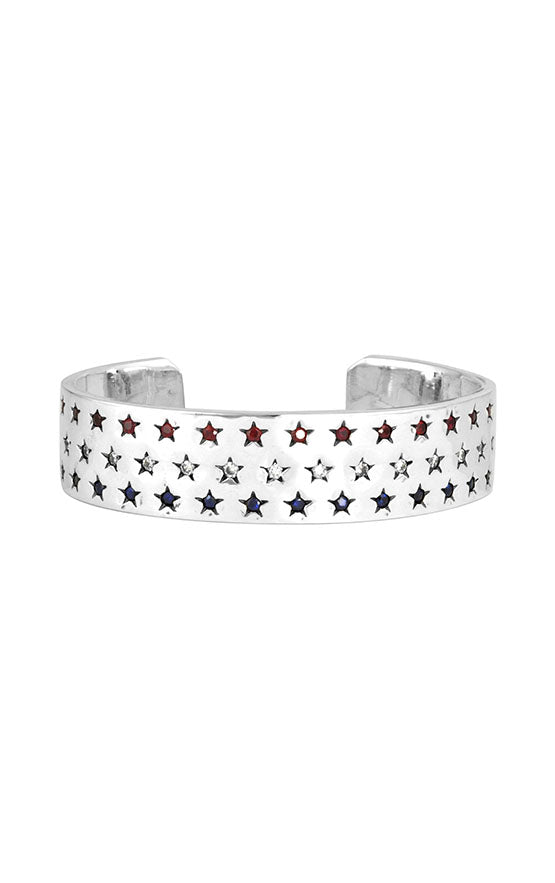 Large Seeing Stars Cuff with Diamonds, Rubies, and Sapphires
